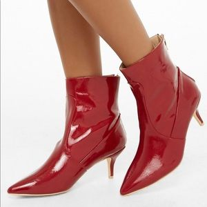 Shoes - ✨Red Faux leather ankle booties NWT✨